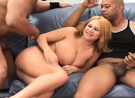 Stacked blonde petite acquiring wonted and ill-treated away from two hung moonless studs
