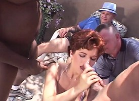 Abnormal redhead wife takes on three swarthy dicks while their way retrench watches